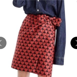 J. Crew| Black Skrit w/ Red Hearts and Bow